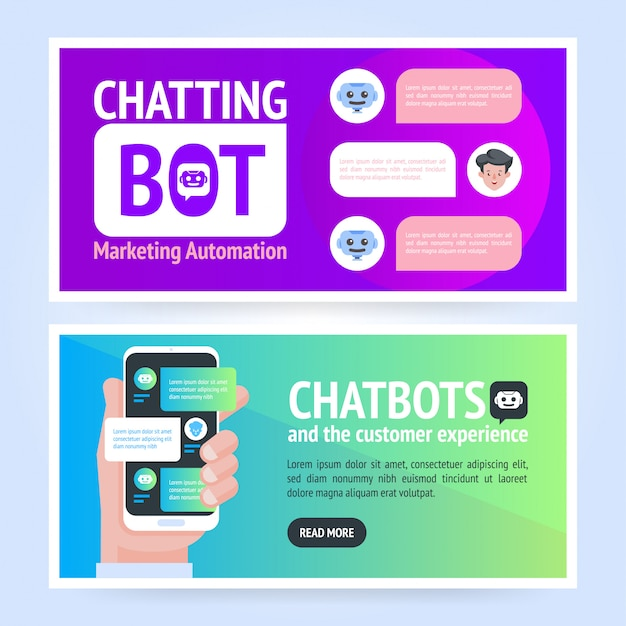 Concept de bannière chatbot. modèle de bannière d'entreprise horizontale. modèle de fond d'en-tête de couverture dans un style plat avec place pour le texte