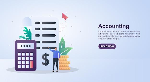 Concept de bannière de comptabilité avec rapports papier et calculatrices.