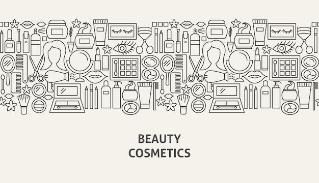 Concept de bannière de cosmétiques. illustration vectorielle de ligne web design.