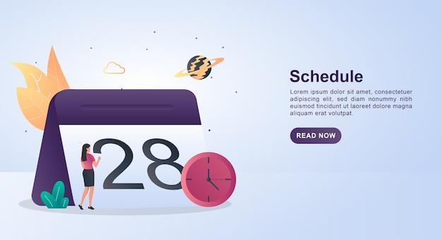 Concept de bannière d'horaire avec un grand calendrier.