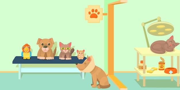 Concept de bannière horizontale de clinique vétérinaire