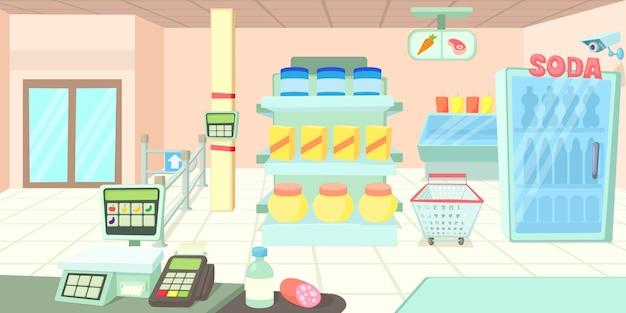 Concept de bannière horizontale de supermarché