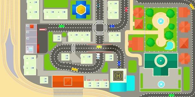 Concept de bannière horizontale ville carte