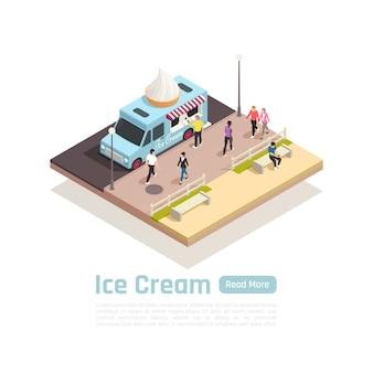 Concept de bannière isométrique de camions de chariots de rue avec le camion de crème glacée sur l'illustration de rue,