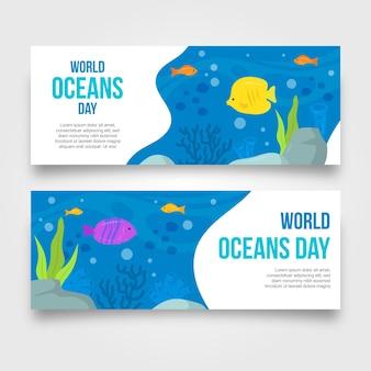 Concept de bannière de la journée mondiale des océans