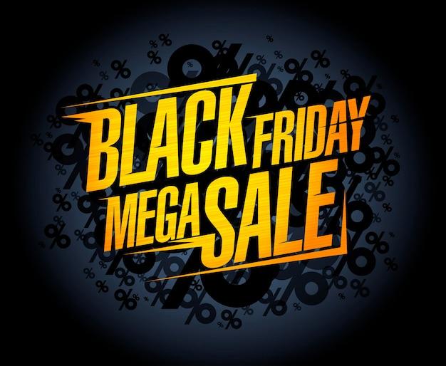 Concept de bannière de méga vente vendredi noir