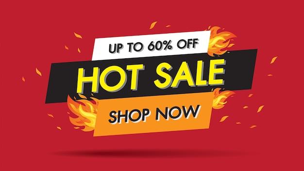 Concept de bannière de modèle hot sale fire burn, offre spéciale 60% de grande vente