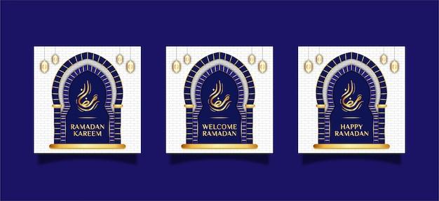 Concept de bannière ramadan au design plat