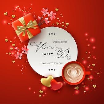 Concept de bannière de la saint-valentin avec un cadeau, des fleurs roses et une tasse de café