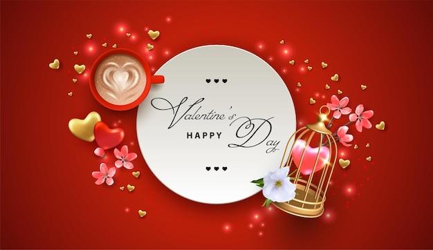 Concept de bannière de la saint-valentin avec une cage, des fleurs roses et une tasse de café