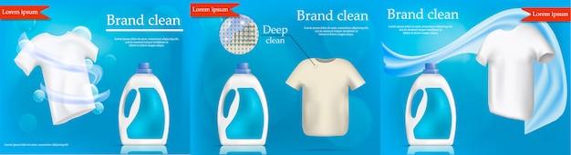Concept de bannière de service de blanchisserie défini. illustration réaliste de 3 concepts de bannière de vecteur de service de blanchisserie pour le web