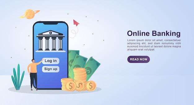 Concept de bannière de services bancaires en ligne en appuyant sur connexion pour entrer dans la banque en ligne.