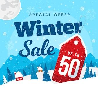 Concept de bannière de vente design plat hiver