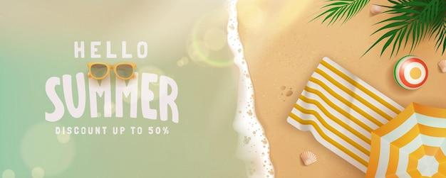 Concept de bannière de vente d'été