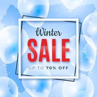 Concept de bannière de vente hiver réaliste