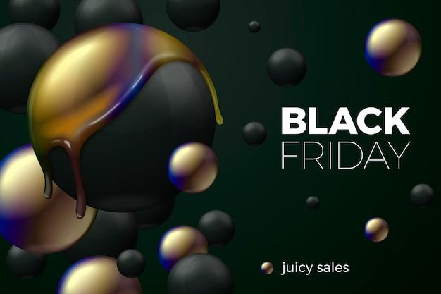 Concept de bannière de vente vendredi noir avec des boules noires se transformant en brillant
