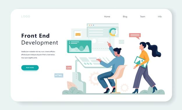 Concept de bannière web de développement frontal. amélioration de l'interface du site web. illustration