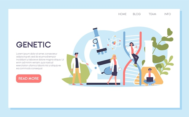 Concept de bannière web généticien. médecine et technologie scientifique. les scientifiques travaillent avec la structure de la molécule. bannière web ou idée de page de destination.