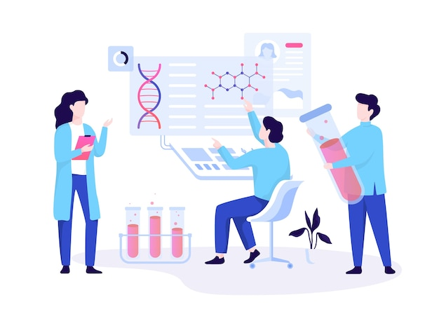 Concept de bannière web généticien. médecine et technologie scientifique