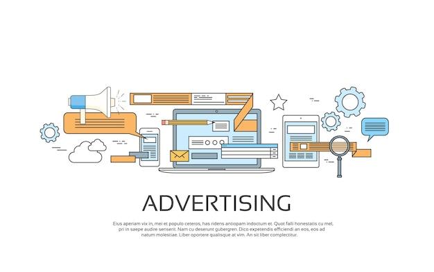 Concept de bannière web en ligne de publicité