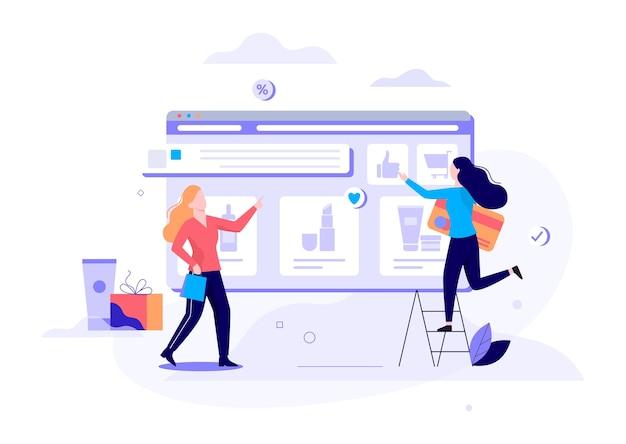 Concept de bannière web shopping en ligne. e-commerce, client sur la vente. app sur téléphone mobile. magasin de cosmétiques. illustration avec style