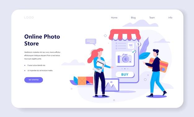Concept de bannière web shopping en ligne. e-commerce, client sur la vente. app sur téléphone mobile. magasin de photos. illustration avec style