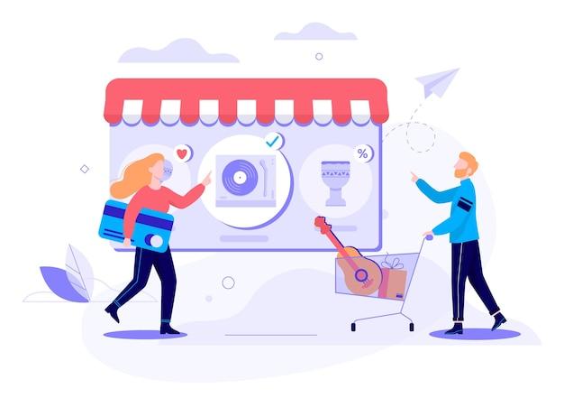 Concept de bannière web shopping en ligne. e-commerce, client sur la vente. illustration avec style