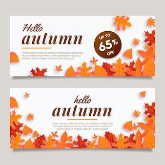 Concept de bannières automne plat