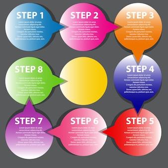 Concept de bannières circulaires colorées avec des flèches pour différents b