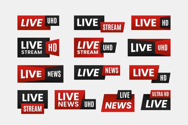 Concept de bannières de nouvelles en direct