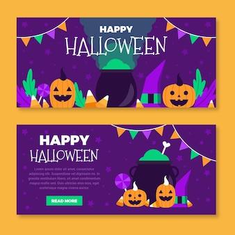 Concept de bannières plat halloween