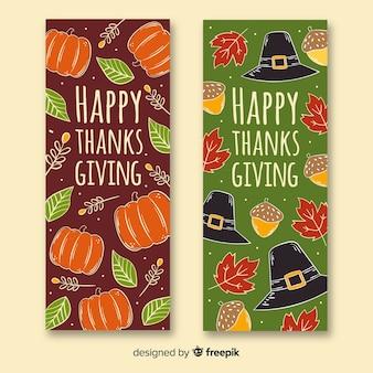 Concept de bannières de thanksgiving dessinés à la main