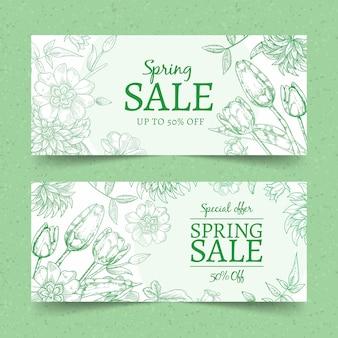 Concept de bannières de vente de printemps dessinés à la main