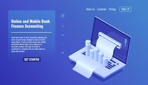 Concept de banque mobile en ligne, comptabilité financière, gestion d'entreprise et statistique