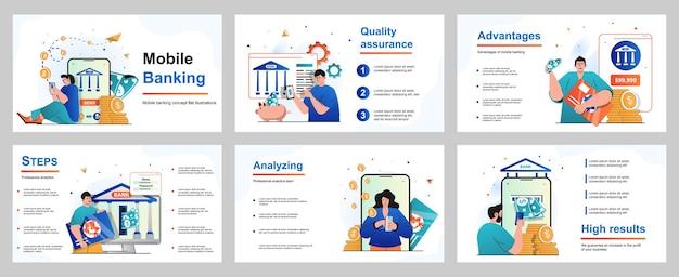 Concept de banque mobile pour le modèle de diapositive de présentation les gens paient pour des achats ou des factures