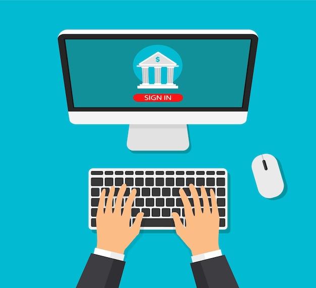 Concept de banque mobile. transaction d'argent, paiement professionnel et mobile. homme d'affaires entre dans un compte bancaire dans un style branché plat. vue de dessus.