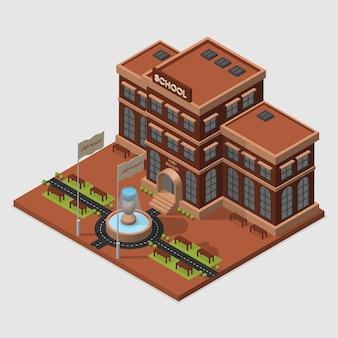 Concept basé sur le vecteur d'illustration isométrique de l'école
