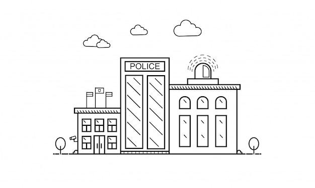Concept de bâtiment de département de police en ligne plate