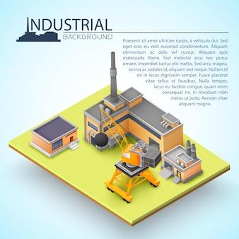 Concept de bâtiment industriel 3d avec opérations industrielles de maison et fonctionnement d'équipements industriels