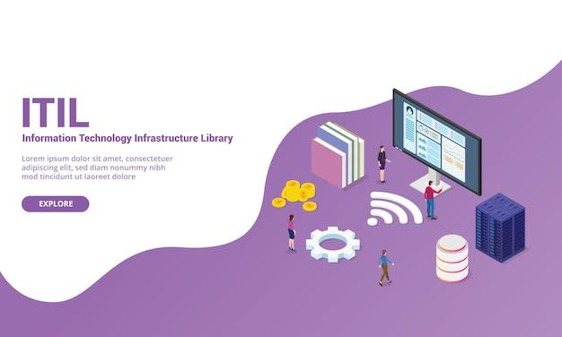 Concept de bibliothèque d'infrastructure informatique itil pour un modèle de site web ou une page d'accueil de destination