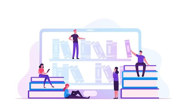 Concept de bibliothèque en ligne. illustration plate de dessin animé