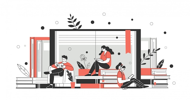 Le concept de bibliothèque en ligne, librairies, en savoir plus. applications pour lire et télécharger des livres. vecteur