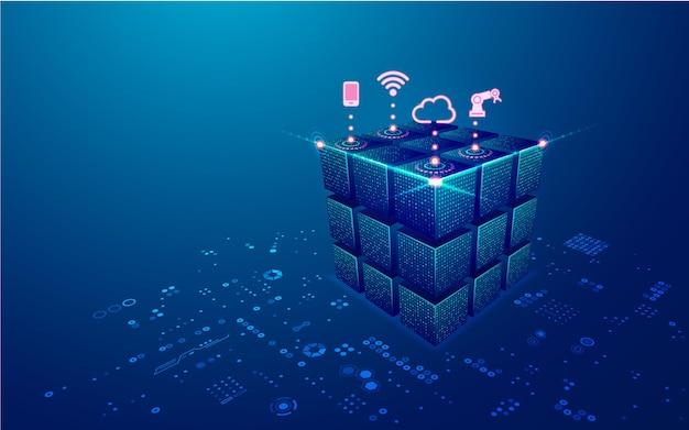 Concept de big data ou de data center graphique d'un cube futuriste avec élément de technologie numérique