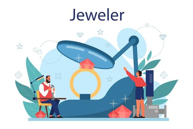 Concept de bijoutier. idée de créatifs et de profession.