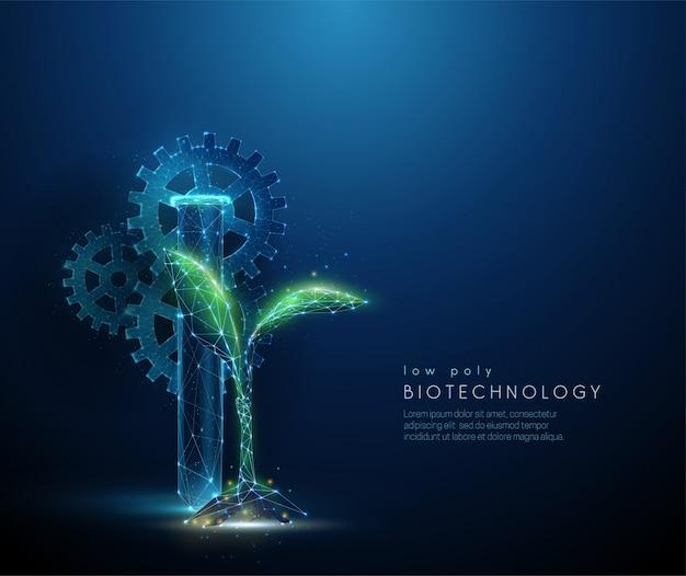 Concept de biotechnologie avec pousse de plante verte dans un style low poly