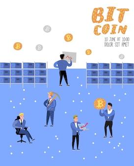 Concept de bitcoin avec affiche de personnages de dessins animés plats