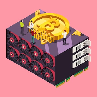 Concept de bitcoin d'exploration de gpu. illustration isométrique