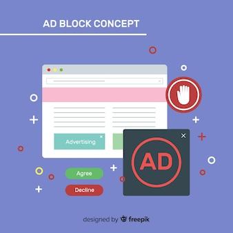 Concept de bloc d'annonce coloré avec un design plat