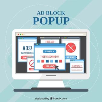 Concept de bloc de publicité moderne avec un design plat