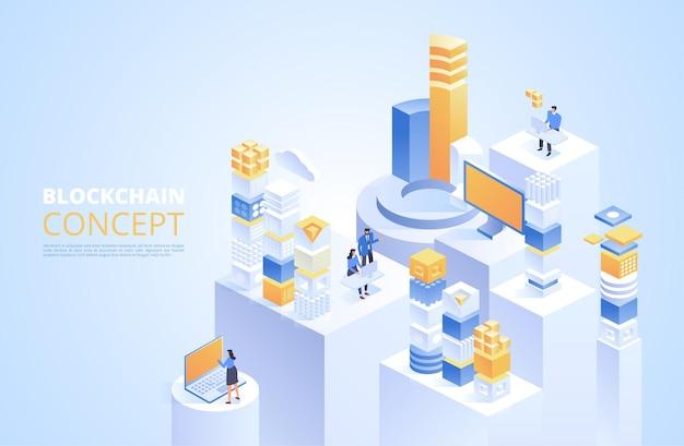 Concept de blockchain. blocs numériques isométriques. chaîne de chiffrement